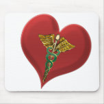 Caduceus On A Heart Mouse Pad