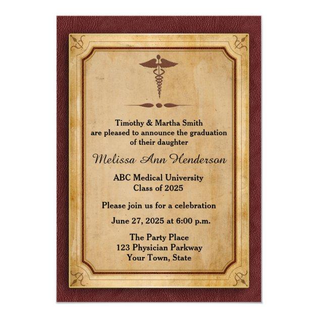 Caduceus, Parchment, Medical Graduate Annoucement 5x7 Paper Invitation Card