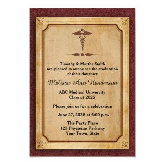 """Caduceus, Parchment, Medical Graduate Annoucement 5"""" X 7"""" Invitation Card"""