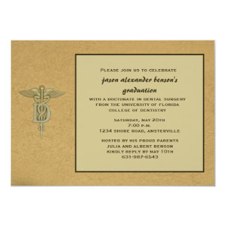Caduceus Pendant Dental School Graduation  Invitat Card