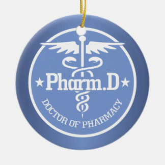 Caduceus PharmD 2 Ceramic Ornament