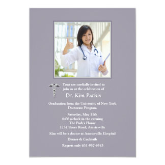 "Caduceus Photo Graduation Invitation 5"" X 7"" Invitation Card"