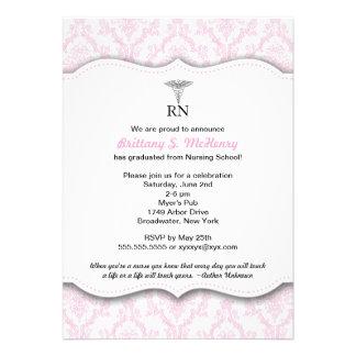 Caduceus Pink Nursing school graduation RN BSN LPN Personalized Announcements