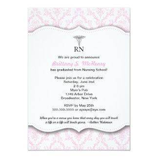 "Caduceus Pink Nursing school graduation RN BSN LPN 5"" X 7"" Invitation Card"
