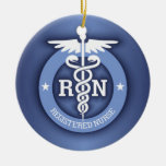 Caduceus RN 2 (Blue) Double-Sided Ceramic Round Christmas Ornament