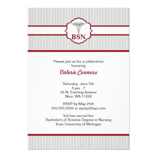 Caduceus RN BSN LPN Graduation Burgundy Red Custom Invite
