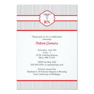 "Caduceus RN BSN LPN Graduation Red and Gray 5"" X 7"" Invitation Card"