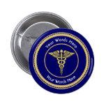 Caduceus Rope Shield Universal Custom 2 Inch Round Button