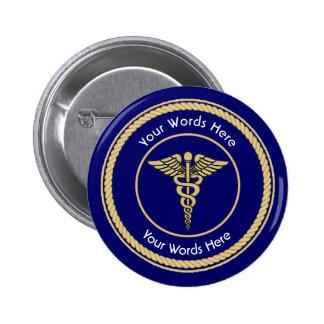 Caduceus Rope Shield Universal Custom Button