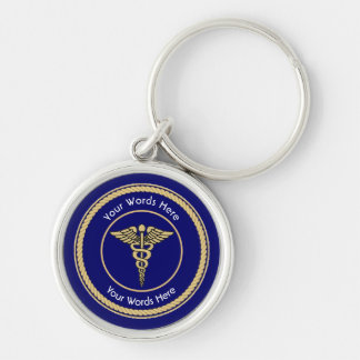 Caduceus Rope Shield Universal Custom Keychain