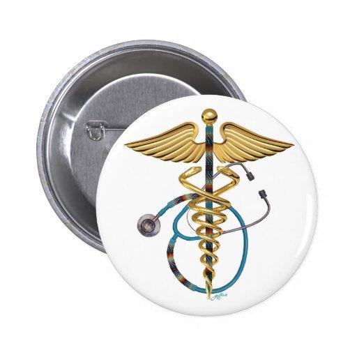 Caduceus & Stethoscope Buttons