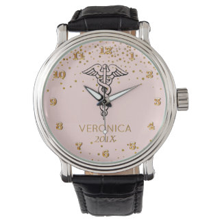 Caduceus Symbol Blush Gold | Nurses Nursing RN Wrist Watch