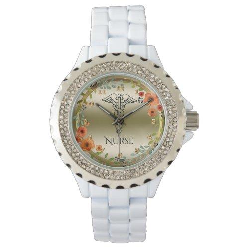 Caduceus Symbol Floral | RN Nurses Nursing Gold Wrist Watch