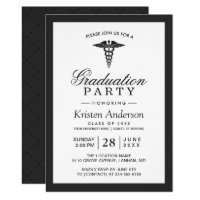 Caduceus Symbol Medical School Graduation Party Card