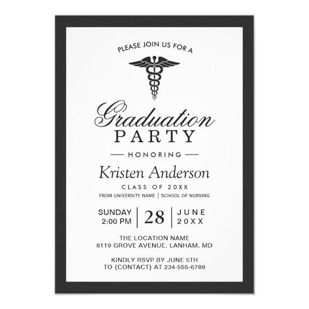 Caduceus Symbol Medical School Graduation Party Card (back side)