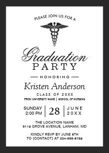 Medical school graduation invitations announcements zazzle caduceus symbol medical school graduation party invitation filmwisefo