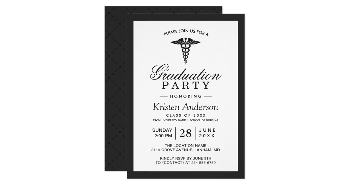 Caduceus Symbol Medical School Graduation Party Invitation