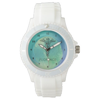 Caduceus Symbol | Nurses Nursing RN Aqua Green Wrist Watch