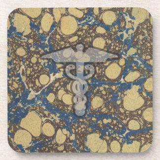 Caduceus the medical symbol for a doctor or nurse beverage coasters