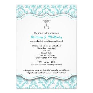 Caduceus Turquoise Nursing school graduation RN Custom Announcement