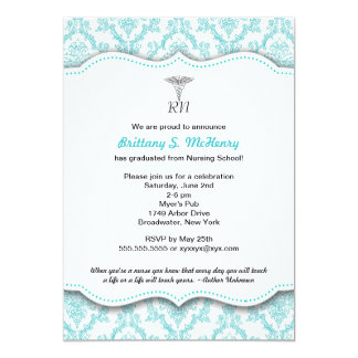 "Caduceus Turquoise Nursing school graduation RN 5"" X 7"" Invitation Card"