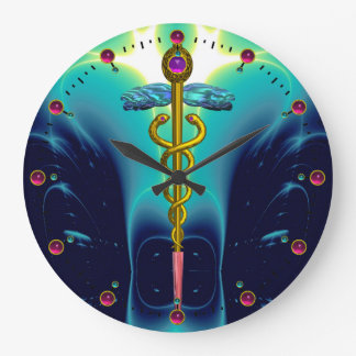 CADUCEUS, vibrant blue turquase gold amethyst Large Clock