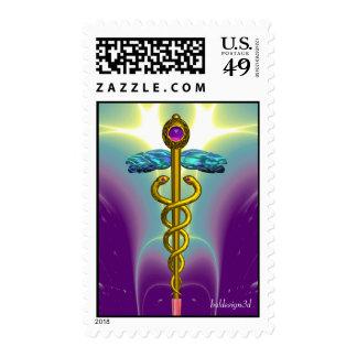 CADUCEUS vibrant gold ,amethyst blue purple Stamps