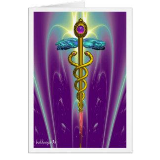 CADUCEUS, vibrant gold amethyst Card