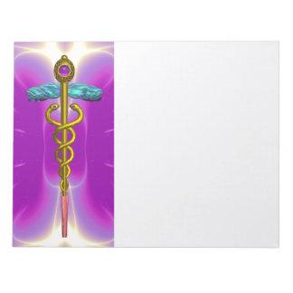 CADUCEUS, vibrant gold amethyst purple pink,white Notepad