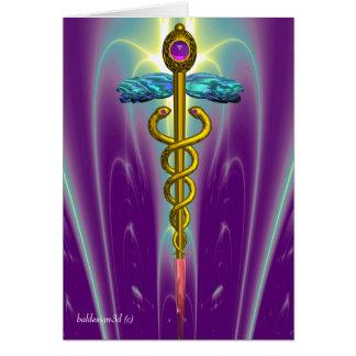 CADUCEUS, vibrant gold amethyst Violet Fuchsia Card