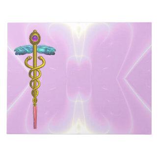 CADUCEUS, vibrant gold amethyst Violet Purple Notepad
