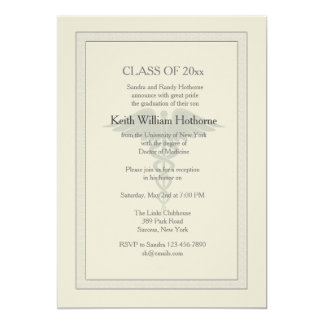 Caduceus Watermark Medical Graduation Invitation