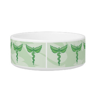 Caduceus with leaves background bowl