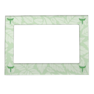 Caduceus with leaves background magnetic frame