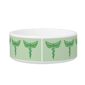 Caduceus with leaves cat food bowls