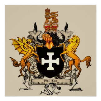 "Caelestis Crux Crest Heraldry Poster (24x24"")"