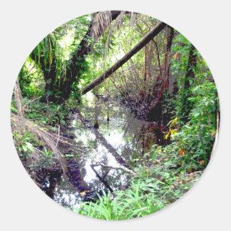 Caer los árboles Green River deposita Posterized Etiquetas Redondas