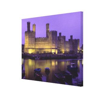 Caernarfon Castle at Night Gwynedd Wales Gallery Wrap Canvas