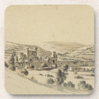 Caerphilly Castle (pen, ink and wash on paper) Beverage Coaster