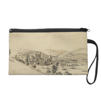 Caerphilly Castle (pen, ink and wash on paper) Wristlet Purse