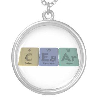 Caesar as Carbon Einsteinium Argon Round Pendant Necklace