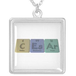 Caesar as Carbon Einsteinium Argon Square Pendant Necklace