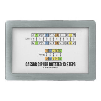 Caesar Cipher Rotated 13 Steps (Substitution) Belt Buckle