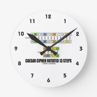 Caesar Cipher Rotated 13 Steps (Substitution) Round Clock