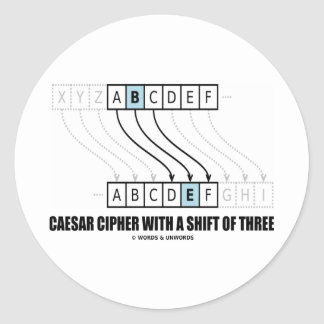 Caesar Cipher With Shift Of Three (Cryptographer) Round Sticker