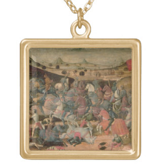 Caesar Triumphing in Battle (tempera on panel) Gold Plated Necklace