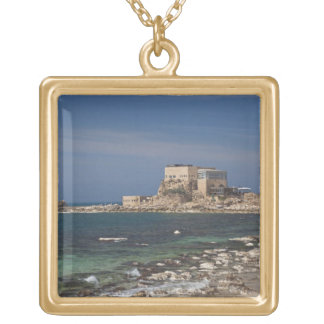 Caesarea ruins of port built by Herod the Great 2 Gold Plated Necklace