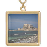 Caesarea ruins of port built by Herod the Great 2 Square Pendant Necklace