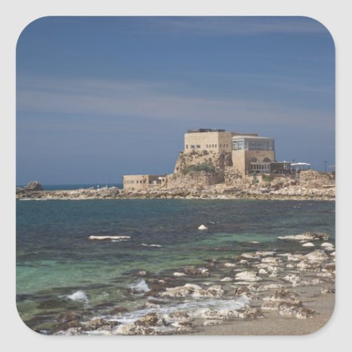 Caesarea ruins of port built by Herod the Great 2 Square Sticker
