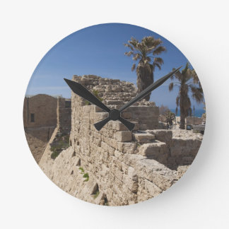 Caesarea ruins of port built by Herod the Great 3 Round Wall Clock